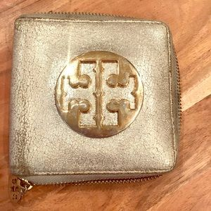 Distressed Metallic Tory Burch Wallet